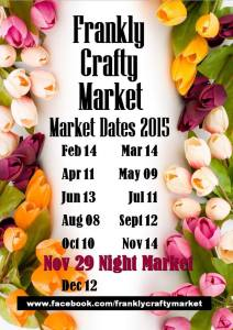 Frankly crafty market dates for 2015